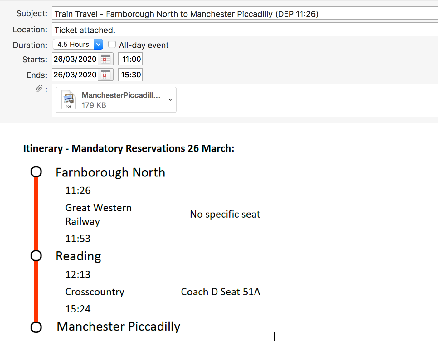 Manage your calendar - adding train journey - screenshot of timetable.
