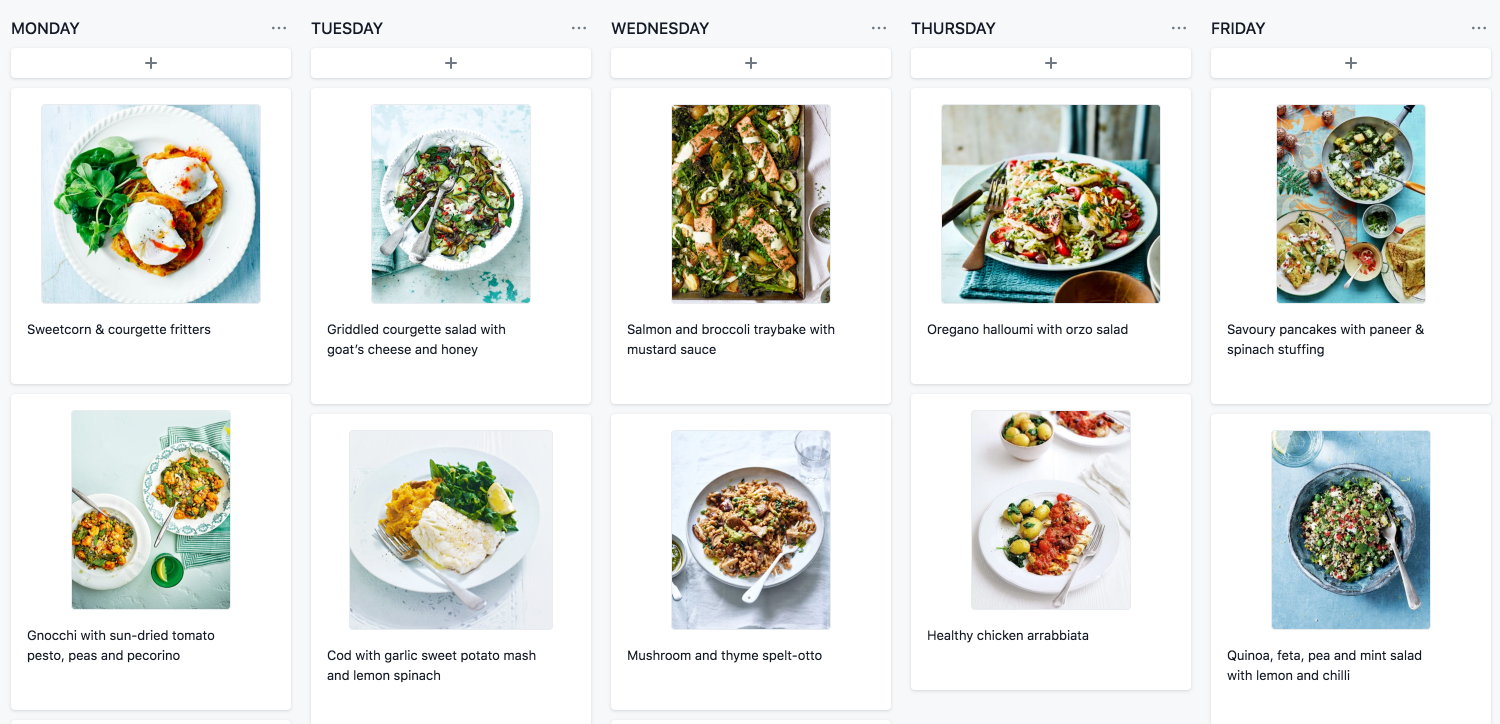 Asana Board Layout showing a meal planner to help boost your productivity at home