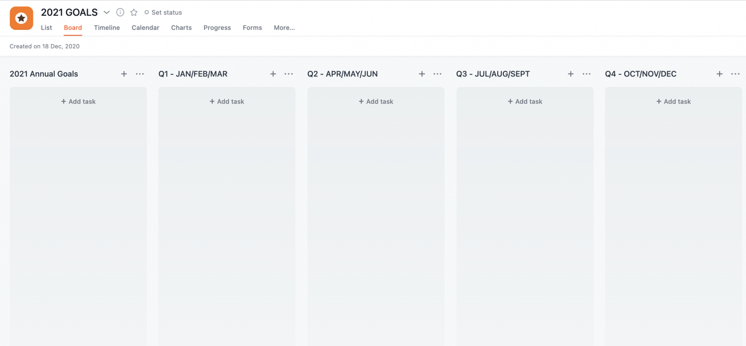 Setting out your goals in Asana
